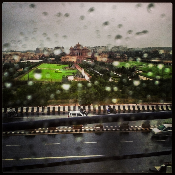The Akshardham Temple, on a rainy day , as seen from the Noida-Dwarka Metro line.