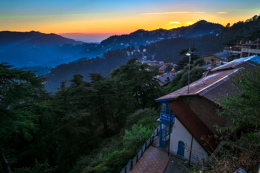 A typical Shimla Sunset as seen from the Shimla railway station.