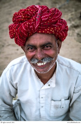 A traditionally dressed visitor at the Pushkar Mela.