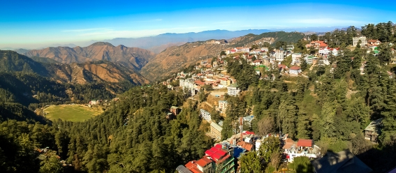 A panorama from a viewpoint in Shimla.