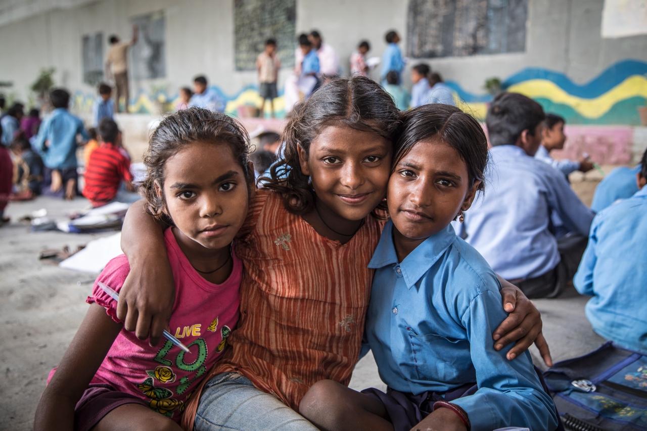 Students of the Free School, Babita (left), Shivani Kumari (centre) and Priyanka Kumari (right) pose for a photograph.